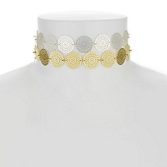 Red Herring - Filigree disc choker necklace necklace set