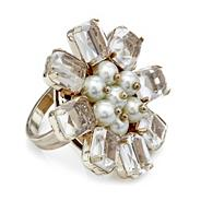 Perspex and pearl flower adjustable ring