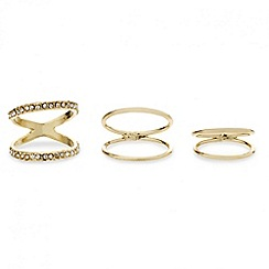 Red Herring - Set of three gold midi rings