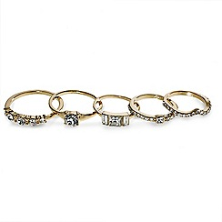 Red Herring - Set of five mini crystal embellished midi rings