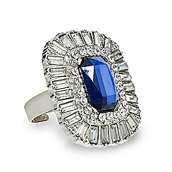 Red Herring - Blue stone baguette surround adjustable ring
