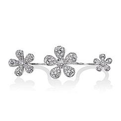 Red Herring - Crystal embellished three flower knuckleduster ring