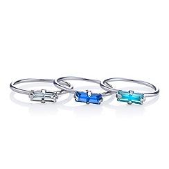 Red Herring - Blue crystal midi ring pack