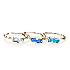 Red Herring - Blue crystal midi ring pack