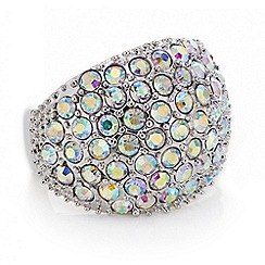 Red Herring - Silver aurora borealis crystal dome ring