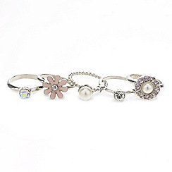 Red Herring - Crystal and pearl floral stacker ring set