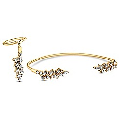 Red Herring - Gold crystal leaf hand bar and ring set