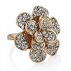 Red Herring - Rose gold crystal open flower ring