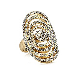 Red Herring - Gold aurora borealis crystal oval ring