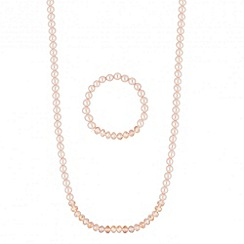 Red Herring - Pearl and facet bead necklace with matching bracelet