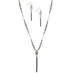 Red Herring - Mixed metal long tassel necklace and earring set