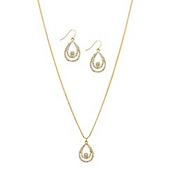 Red Herring - Crystal embellished teardrop necklace and earring set