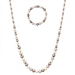 Red Herring - Graduated pink tonal pearl jewellery set