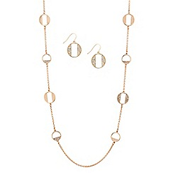 Red Herring - Rose gold crystal disc link necklace and earring set