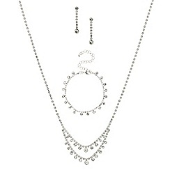 Red Herring - Diamante crystal and round stone trio jewellery set