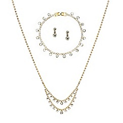 Red Herring - Diamante crystal and round stone gold trio jewellery set
