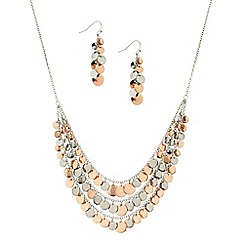 Red Herring - Two tone disc shower drop necklace and earring set