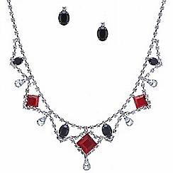 Red Herring - Red and jet stone diamante surround jewellery set