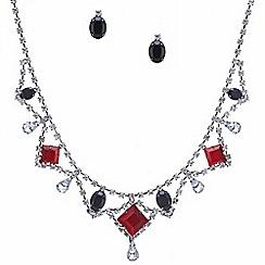 Red Herring - Red and jet stone diamante surround jewellery set