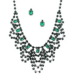 Red Herring - Green and blue baguette drape jewellery set