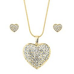 Red Herring - Crystal embellished heart drop jewellery set