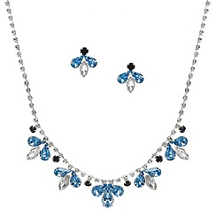 Red Herring - Blue tonal diamante crystal cluster set