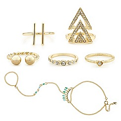 Red Herring - Gold hand chain and crystal ring set