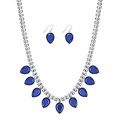 Red Herring - Blue crystal teardrop necklace and earring set
