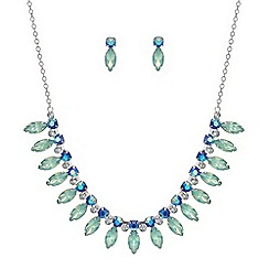 Red Herring - Pacific blues navette necklace and earring set
