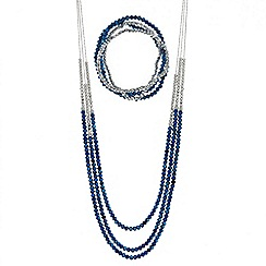 Red Herring - Metallic blue beaded multirow necklace and matching bracelets