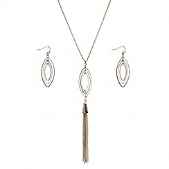 Red Herring - Rose gold navette tassel necklace and matching earring set