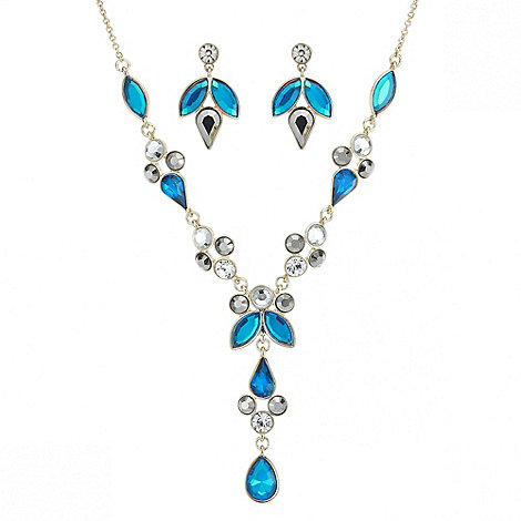 Red Herring - Teal crystal y necklace and matching earring set