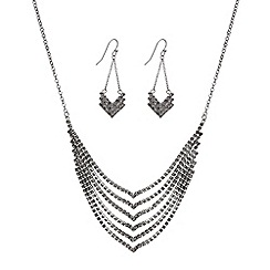 Red Herring - Black diamante looped necklace and earring set