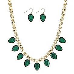 Red Herring - Green teardrop necklace and earring set