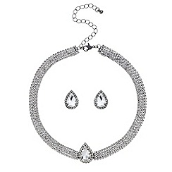 Red Herring - Silver teardrop diamante crystal choker and earring set