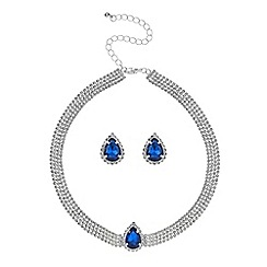 Red Herring - Blue teardrop diamante choker necklace and earring set