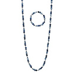 Red Herring - Metallic blue beaded long necklace and bracelet set