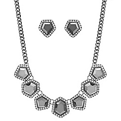 Red Herring - Metallic grey crystal necklace and earring set
