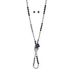 Red Herring - Tonal blue pearl and bead jewellery set
