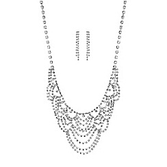 Red Herring - Diamante crystal loop jewellery set