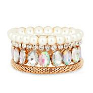 Crystal pearl spike stretch bracelet pack