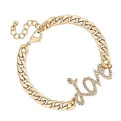 Red Herring - Crystal love link chunky chain bracelet
