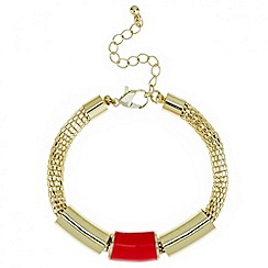 Red Herring - Orange enamel triple tube bracelet
