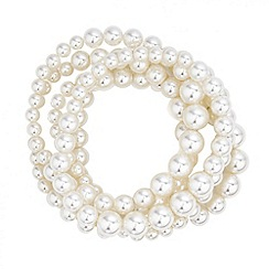 Red Herring - Cream pearl stretch bracelet pack