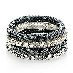 Red Herring - Set of four silver tonal mesh bracelets