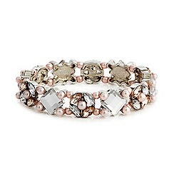 Red Herring - Square crystal and pink pearl stretch bracelet