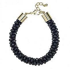 Red Herring - Jet facet bead cluster stretch bracelet