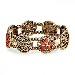 Red Herring - Floral and disc charm stretch bracelet