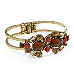 Red Herring - Mixed jewelled navette stone hinged bangle