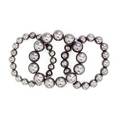 Red Herring - Set of three grey pearl stretch bracelets
